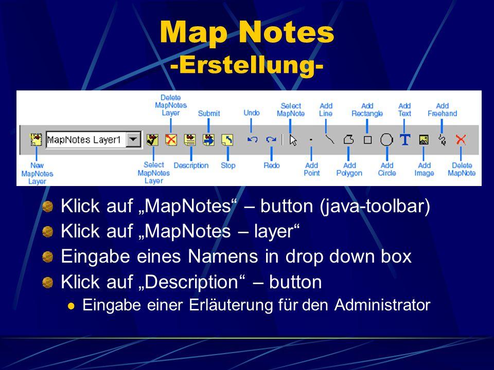 Map Notes -Erstellung- Klick auf MapNotes – button (java-toolbar) Klick auf MapNotes – layer Eingabe eines Namens in drop down box Klick auf Descripti