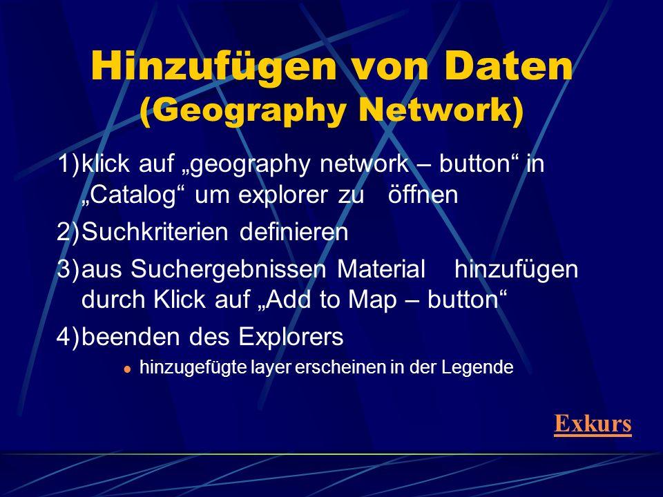 1)klick auf geography network – button in Catalog um explorer zu öffnen 2)Suchkriterien definieren 3)aus Suchergebnissen Material hinzufügen durch Kli