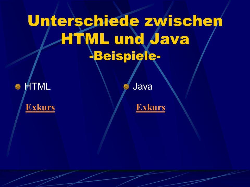 Unterschiede zwischen HTML und Java -Beispiele- HTMLJava Exkurs