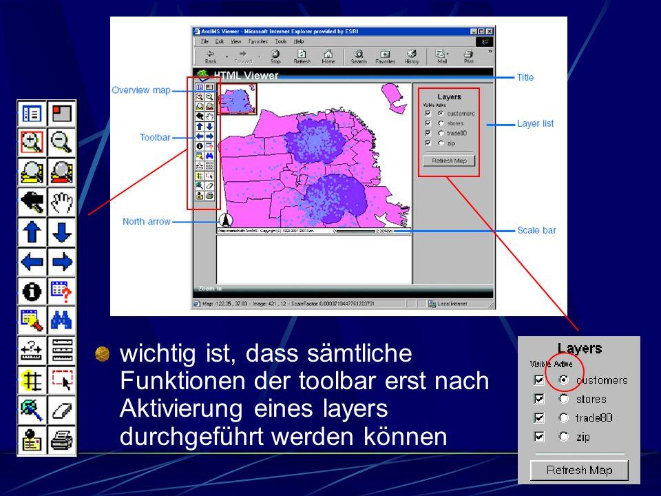 wichtig ist, dass sämtliche Funktionen der toolbar erst nach Aktivierung eines layers durchgeführt werden können