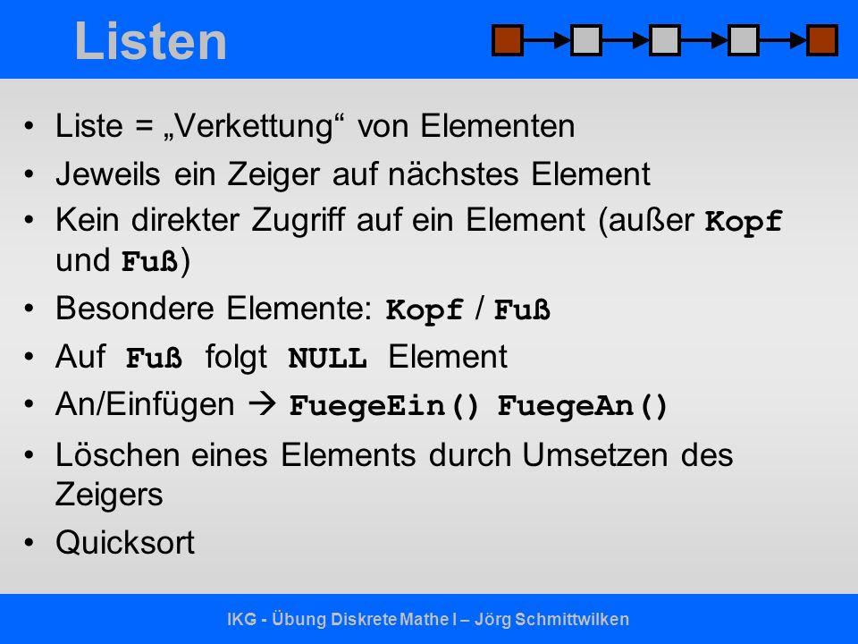 IKG - Übung Diskrete Mathe I – Jörg Schmittwilken Listen Liste = Verkettung von Elementen Jeweils ein Zeiger auf nächstes Element Kein direkter Zugrif