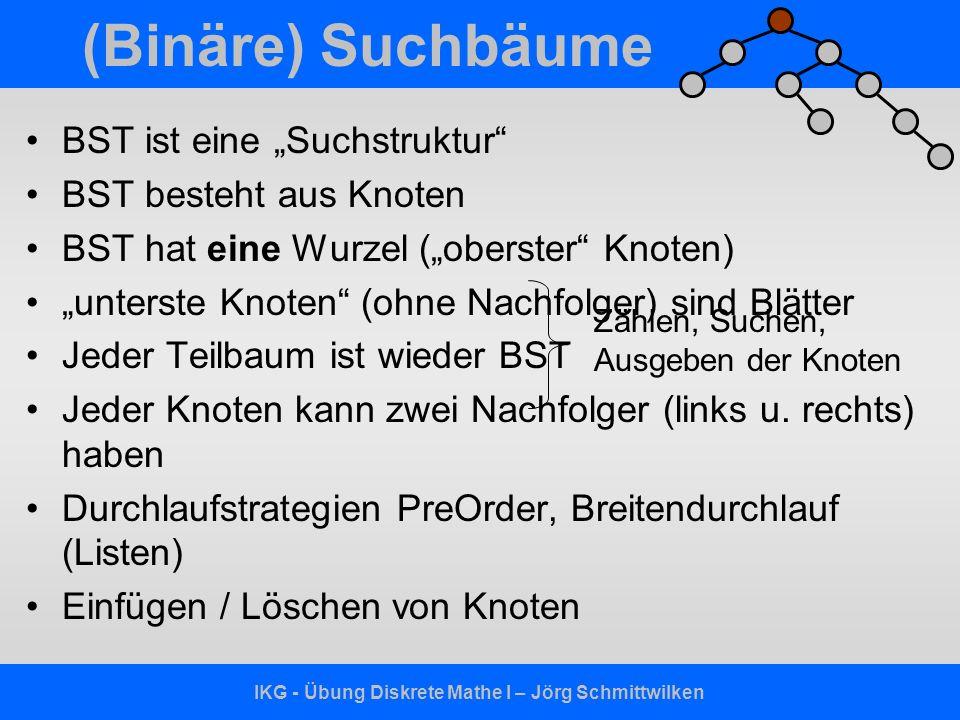 IKG - Übung Diskrete Mathe I – Jörg Schmittwilken (Binäre) Suchbäume BST ist eine Suchstruktur BST besteht aus Knoten BST hat eine Wurzel (oberster Kn