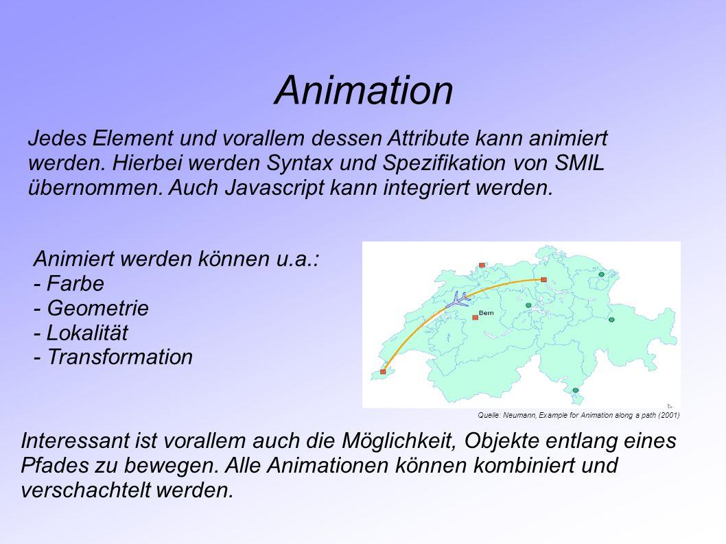 Animation Jedes Element und vorallem dessen Attribute kann animiert werden. Hierbei werden Syntax und Spezifikation von SMIL übernommen. Auch Javascri
