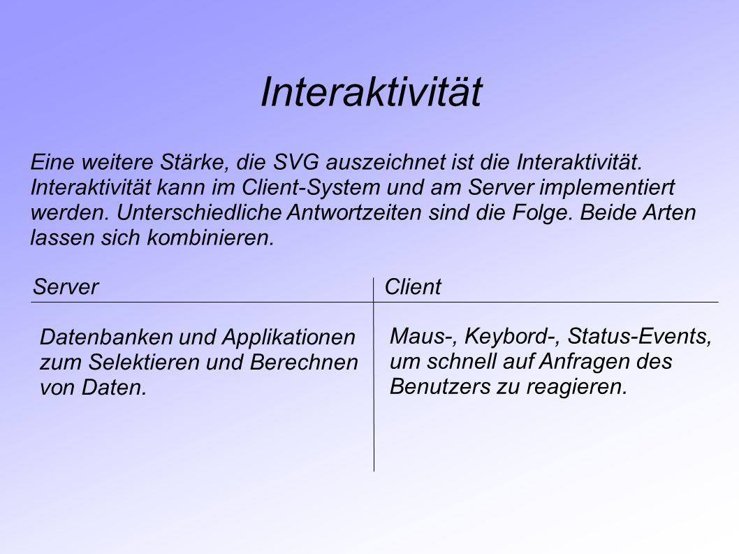 Interaktivität Eine weitere Stärke, die SVG auszeichnet ist die Interaktivität. Interaktivität kann im Client-System und am Server implementiert werde