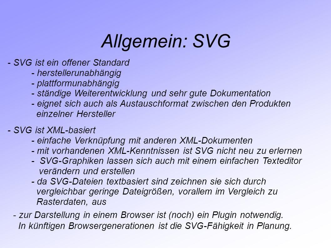 Allgemein: SVG - SVG ist ein offener Standard - herstellerunabhängig - plattformunabhängig - ständige Weiterentwicklung und sehr gute Dokumentation -