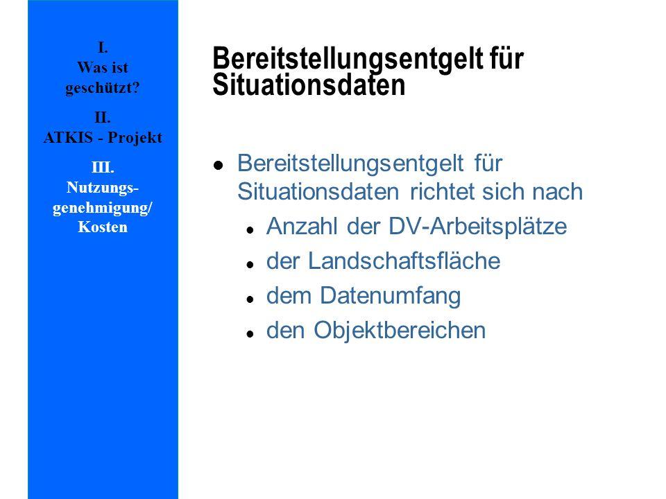 I. Was ist geschützt? II. ATKIS - Projekt III. Nutzungs- genehmigung/ Kosten Bereitstellungsentgelt für Situationsdaten l Bereitstellungsentgelt für S