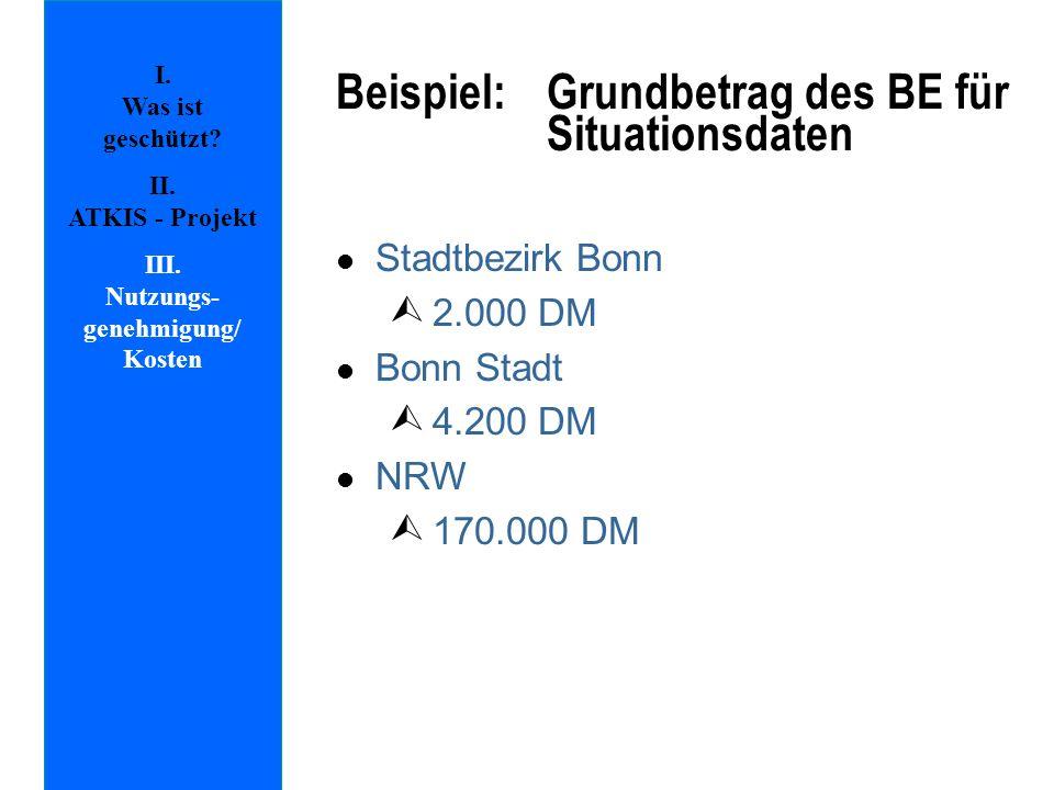 Beispiel: Grundbetrag des BE für Situationsdaten l Stadtbezirk Bonn Ù 2.000 DM l Bonn Stadt Ù 4.200 DM l NRW Ù 170.000 DM I. Was ist geschützt? II. AT