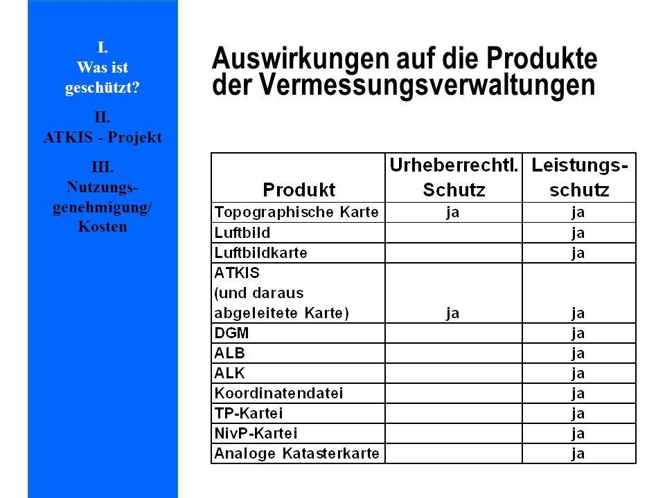 I. Was ist geschützt? II. ATKIS - Projekt III. Nutzungs- genehmigung/ Kosten Auswirkungen auf die Produkte der Vermessungsverwaltungen