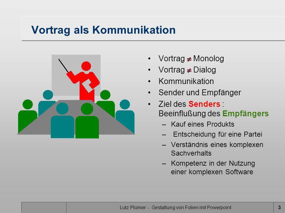 Lutz Plümer - Gestaltung von Folien mit Powerpoint34 müssen Sinn machen (von links Rollen) Effekte sinnvoll einsetzen die Informationsaufnahme unterstützen (von unten rollen) und nicht behindern (Spirale) sonst führen sie auf die Dauer (von rechts rollen) zu Ärger (rotieren) und: Gecks sind gut, wenn man sie sparsam einsetzt