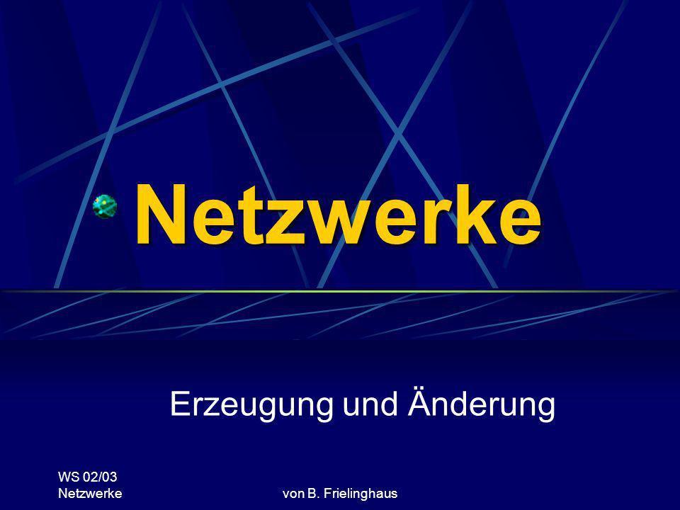 WS 02/03 Netzwerkevon B. Frielinghaus Netzwerke Erzeugung und Änderung