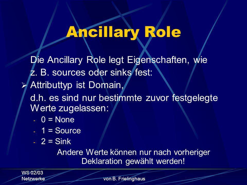 WS 02/03 Netzwerkevon B. Frielinghaus Ancillary Role Die Ancillary Role legt Eigenschaften, wie z.