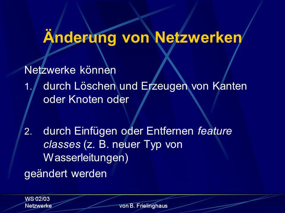 WS 02/03 Netzwerkevon B.Frielinghaus Änderung von Netzwerken Netzwerke können 1.