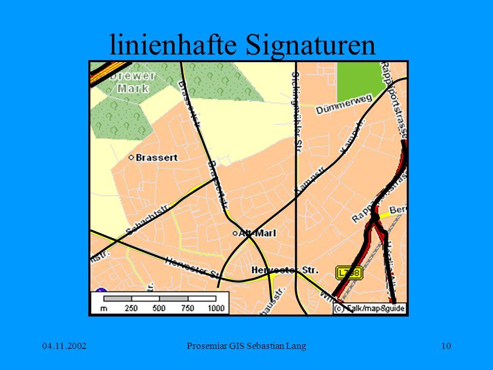 04.11.2002Prosemiar GIS Sebastian Lang10 linienhafte Signaturen