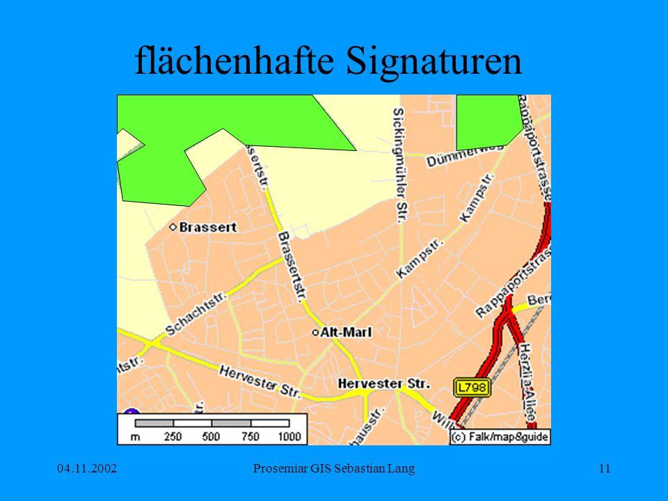 04.11.2002Prosemiar GIS Sebastian Lang11 flächenhafte Signaturen