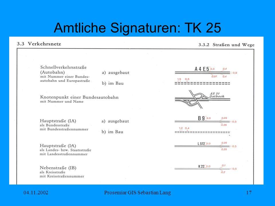 04.11.2002Prosemiar GIS Sebastian Lang17 Amtliche Signaturen: TK 25
