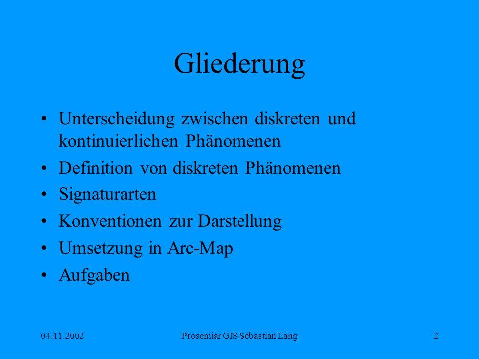 04.11.2002Prosemiar GIS Sebastian Lang2 Gliederung Unterscheidung zwischen diskreten und kontinuierlichen Phänomenen Definition von diskreten Phänomenen Signaturarten Konventionen zur Darstellung Umsetzung in Arc-Map Aufgaben