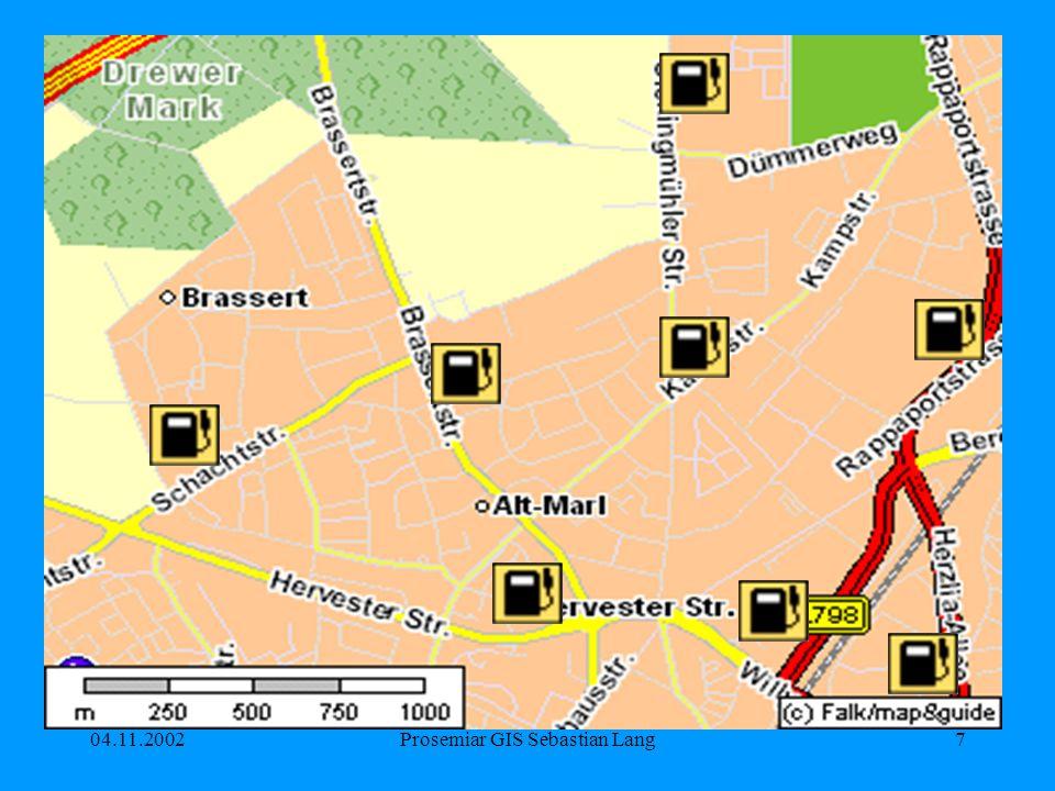 04.11.2002Prosemiar GIS Sebastian Lang8 Signaturarten Punkte (z.B.