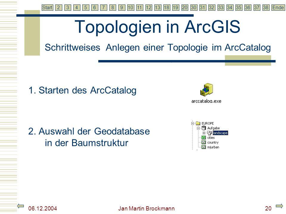 7 2345679810111213181920303132333435363738EndeStart 06.12.2004 Jan Martin Brockmann20 Topologien in ArcGIS Schrittweises Anlegen einer Topologie im Ar