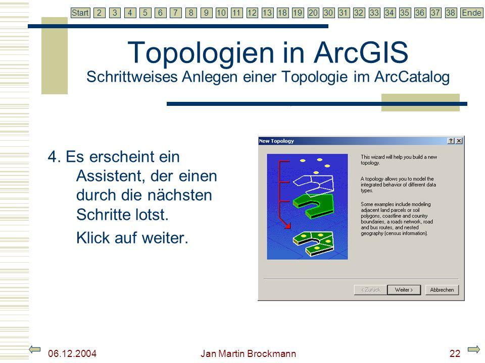 7 2345679810111213181920303132333435363738EndeStart 06.12.2004 Jan Martin Brockmann22 Topologien in ArcGIS Schrittweises Anlegen einer Topologie im Ar