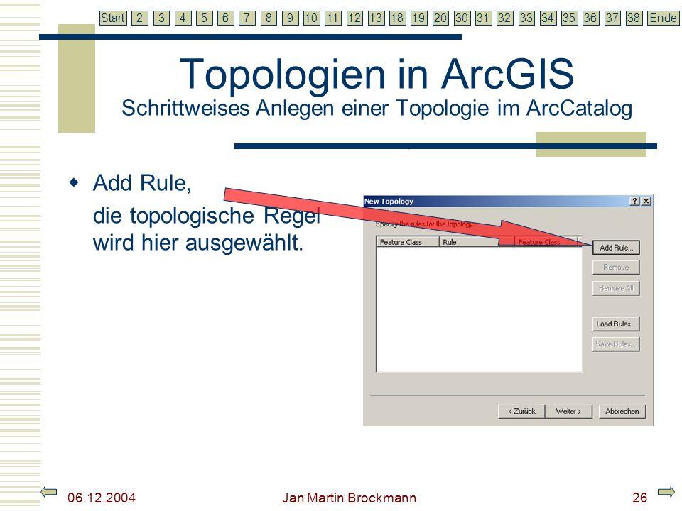 7 2345679810111213181920303132333435363738EndeStart 06.12.2004 Jan Martin Brockmann26 Topologien in ArcGIS Schrittweises Anlegen einer Topologie im Ar