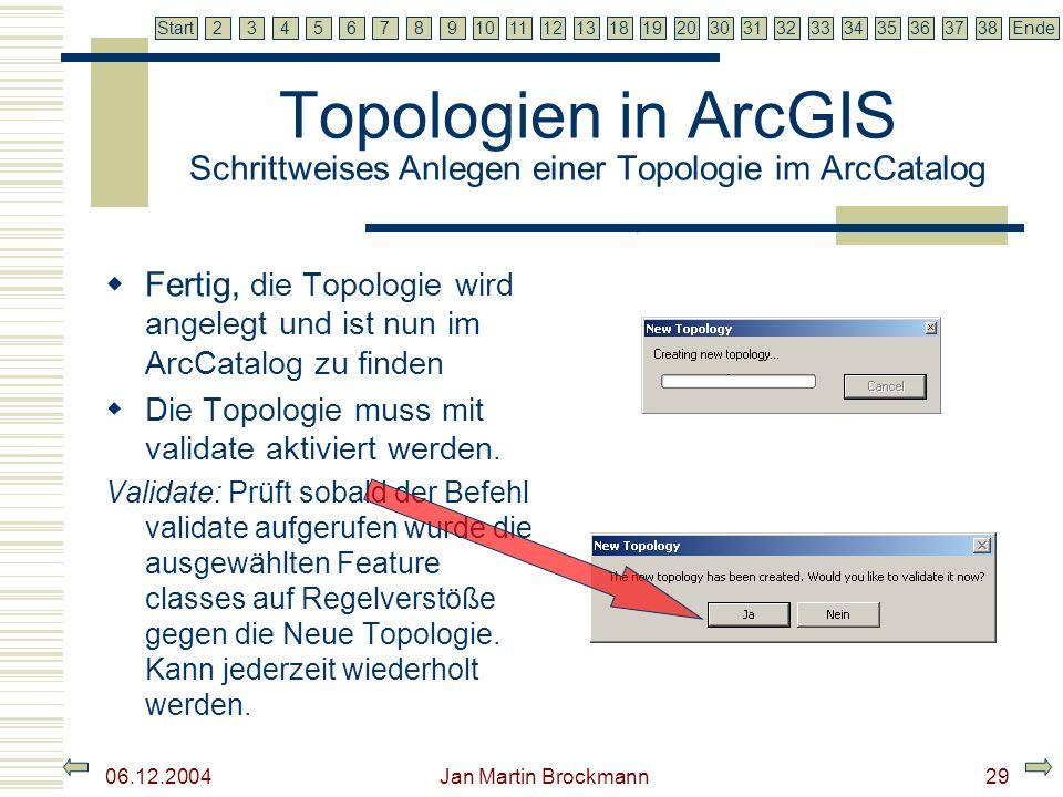7 2345679810111213181920303132333435363738EndeStart 06.12.2004 Jan Martin Brockmann29 Topologien in ArcGIS Schrittweises Anlegen einer Topologie im Ar