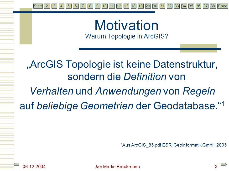 7 2345679810111213181920303132333435363738EndeStart 06.12.2004 Jan Martin Brockmann3 Motivation Warum Topologie in ArcGIS? ArcGIS Topologie ist keine