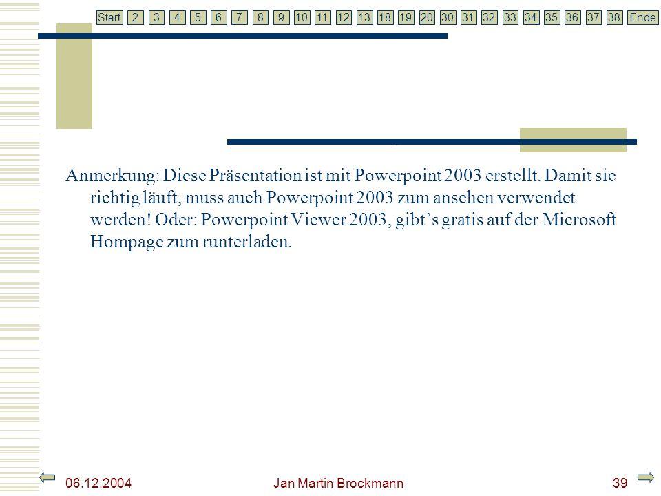 7 2345679810111213181920303132333435363738EndeStart 06.12.2004 Jan Martin Brockmann39 Anmerkung: Diese Präsentation ist mit Powerpoint 2003 erstellt.