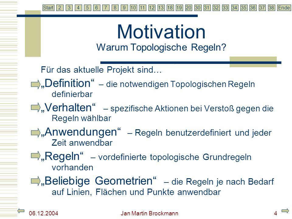 7 2345679810111213181920303132333435363738EndeStart 06.12.2004 Jan Martin Brockmann4 Motivation Warum Topologische Regeln? Für das aktuelle Projekt si