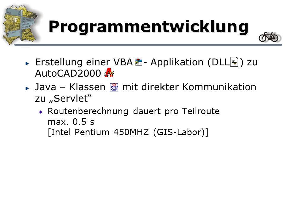 Programmentwicklung Erstellung einer VBA - Applikation (DLL ) zu AutoCAD2000 Java – Klassen mit direkter Kommunikation zu Servlet Routenberechnung dauert pro Teilroute max.