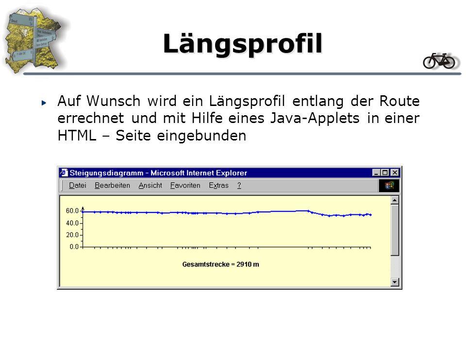 Längsprofil Auf Wunsch wird ein Längsprofil entlang der Route errechnet und mit Hilfe eines Java-Applets in einer HTML – Seite eingebunden