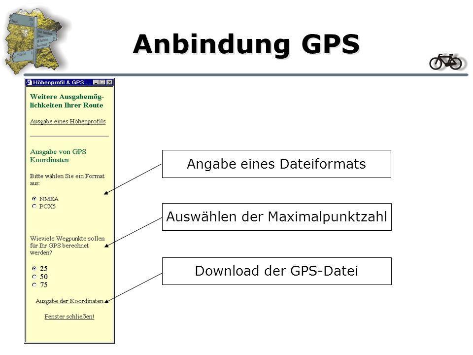 Anbindung GPS Download der GPS-DateiAuswählen der MaximalpunktzahlAngabe eines Dateiformats