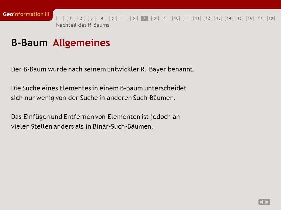 12345789111213141516171810 Geoinformation III 6 Nachteil des R-Baums B-Baum Allgemeines Der B-Baum wurde nach seinem Entwickler R. Bayer benannt. Die