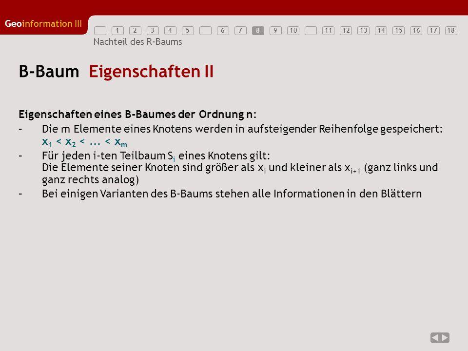 12345789111213141516171810 Geoinformation III 6 Nachteil des R-Baums B-Baum Eigenschaften II Eigenschaften eines B-Baumes der Ordnung n: –Die m Elemen