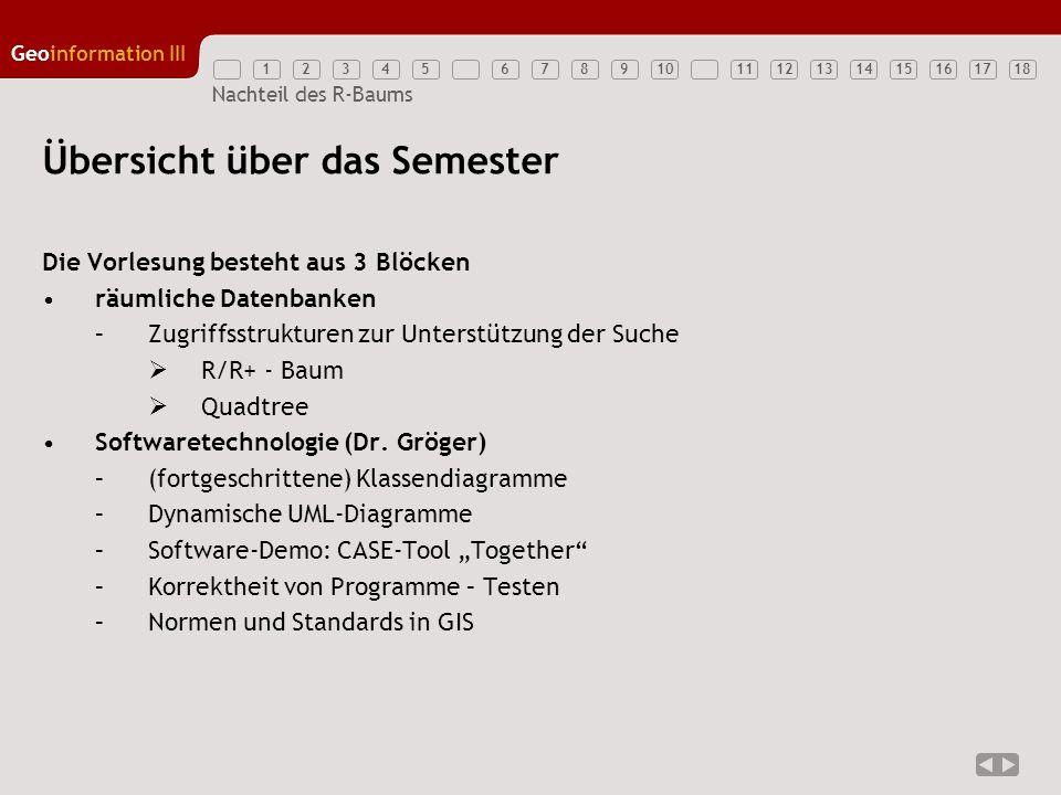 12345789111213141516171810 Geoinformation III 6 Nachteil des R-Baums Übersicht über das Semester Die Vorlesung besteht aus 3 Blöcken Internet: Protokolle, Dienste und Formate (Dr.