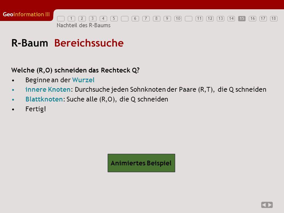12345789111213141516171810 Geoinformation III 6 Nachteil des R-Baums R-Baum Bereichssuche Welche (R,O) schneiden das Rechteck Q? Beginne an der Wurzel