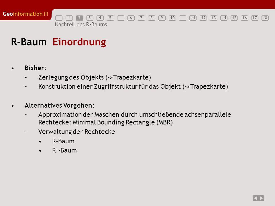 12345789111213141516171810 Geoinformation III 6 Nachteil des R-Baums R-Baum Einordnung Bisher: –Zerlegung des Objekts (->Trapezkarte) –Konstruktion ei