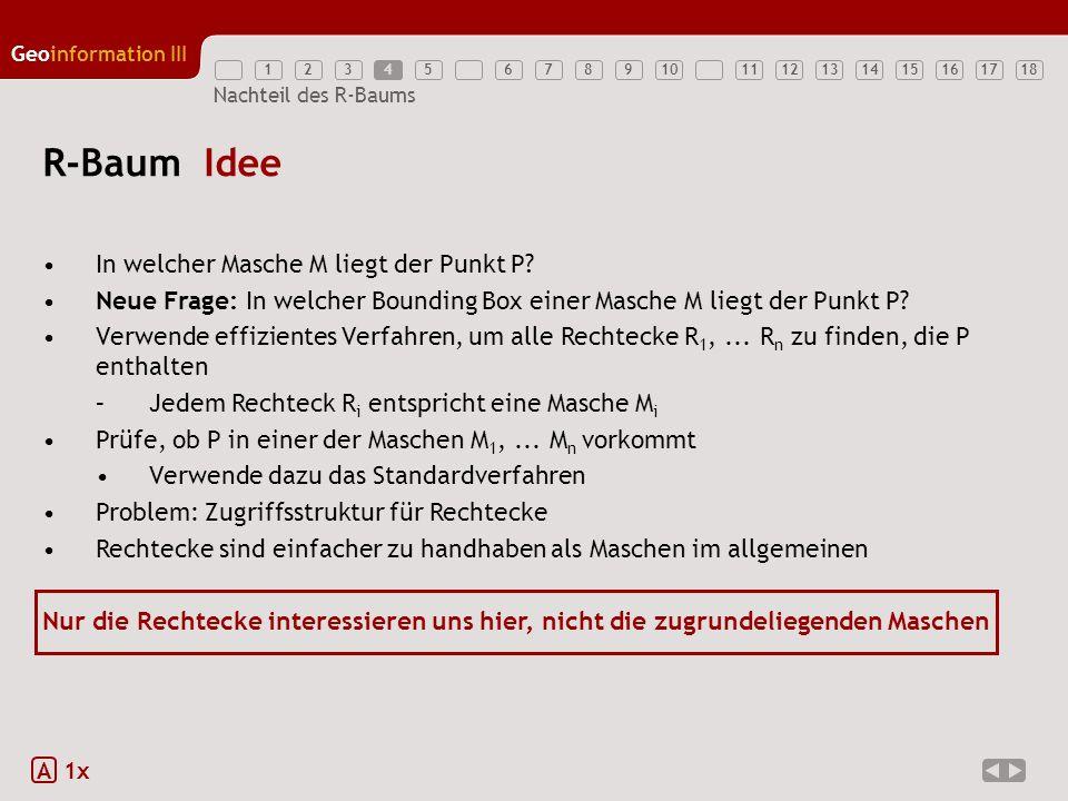 12345789111213141516171810 Geoinformation III 6 Nachteil des R-Baums R-Baum Idee In welcher Masche M liegt der Punkt P? Neue Frage: In welcher Boundin
