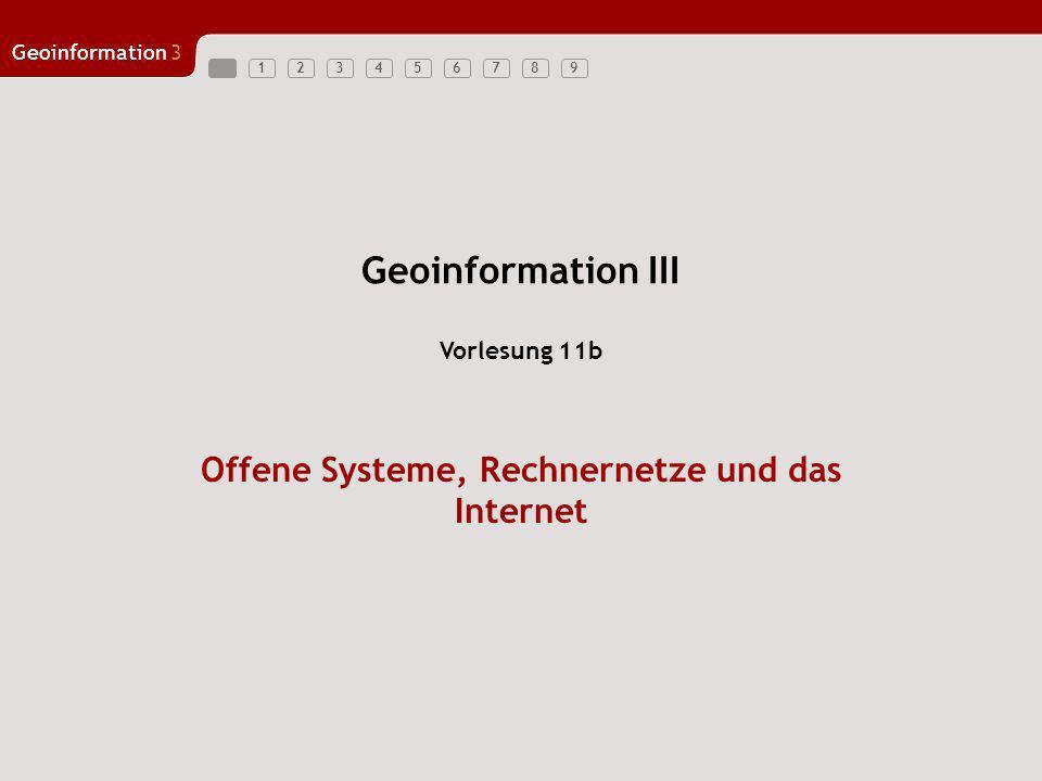123456789 Geoinformation3 1 Schichten 1-3 werden durch Rechnernetzwerke realisiert –Rechnernetze sind Voraussetzung für räumlich verteilte Systeme Schicht 4 wird häufig vom Rechnerbetriebssystem implementiert –Beispiele: UNIX (Linux), Windows, Mac-OS Rechnernetze werden unterschieden in –Lokale Netze (Local Area Network LAN) –Nahbereichsnetze (Metropolitan Area Network MAN) –Weitverkehrsnetze (Wide Area Networks WAN) Oftmals werden LANs zu MANs und WANs zusammengeschaltet Rechnernetze