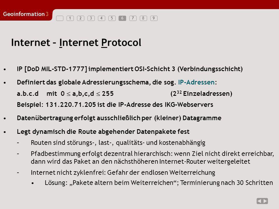 123456789 Geoinformation3 6 Internet – Internet Protocol IP [DoD MIL-STD-1777] implementiert OSI-Schicht 3 (Verbindungsschicht) Definiert das globale