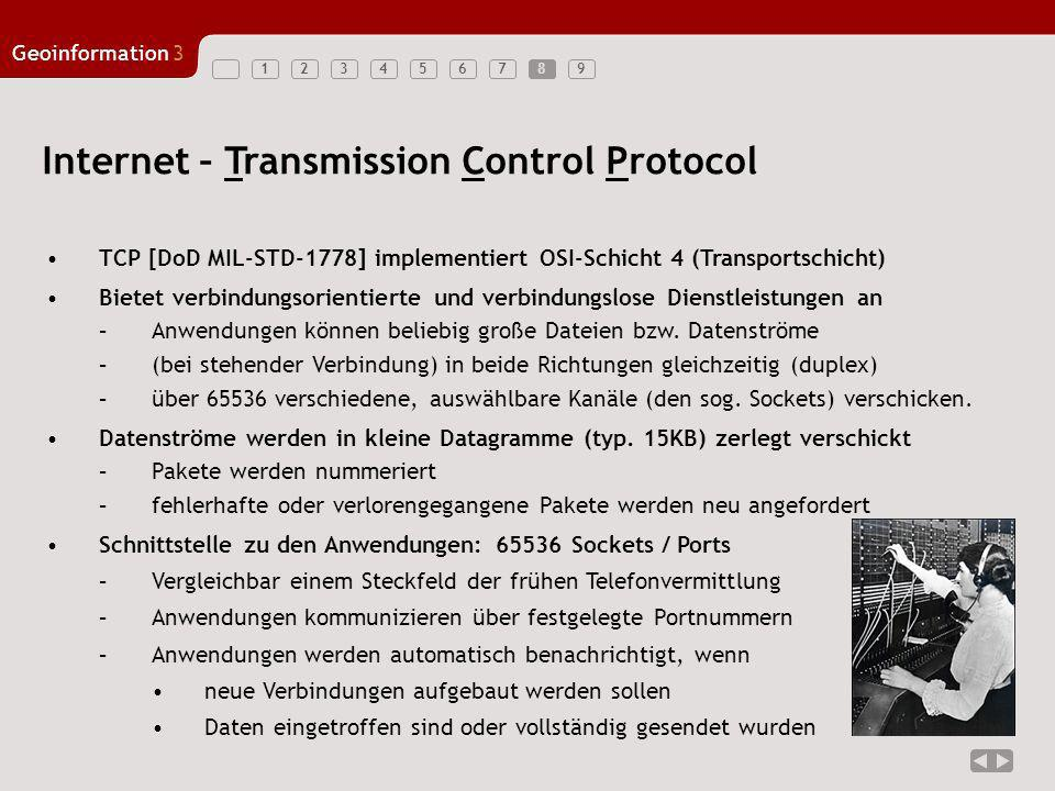 123456789 Geoinformation3 8 Internet – Transmission Control Protocol TCP [DoD MIL-STD-1778] implementiert OSI-Schicht 4 (Transportschicht) Bietet verb