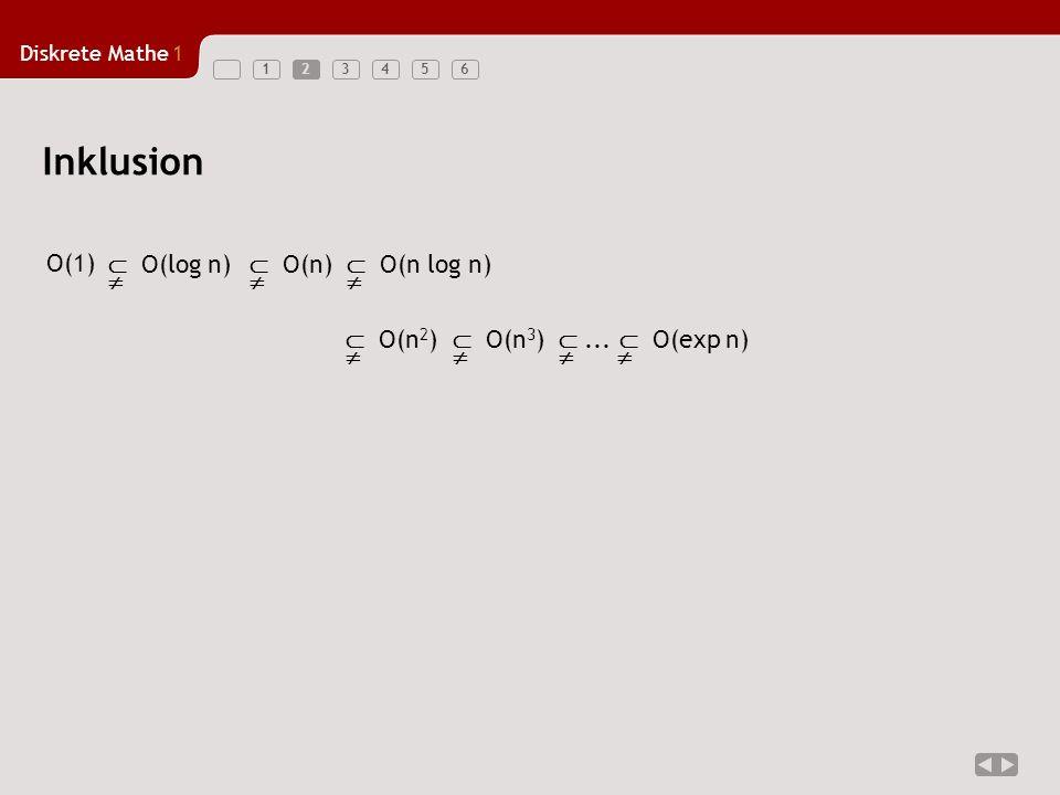 Diskrete Mathe1 1234562 Inklusion O(log n) O(n log n) O(n 3 ) O(n)... O(exp n) O(1) O(n 2 )