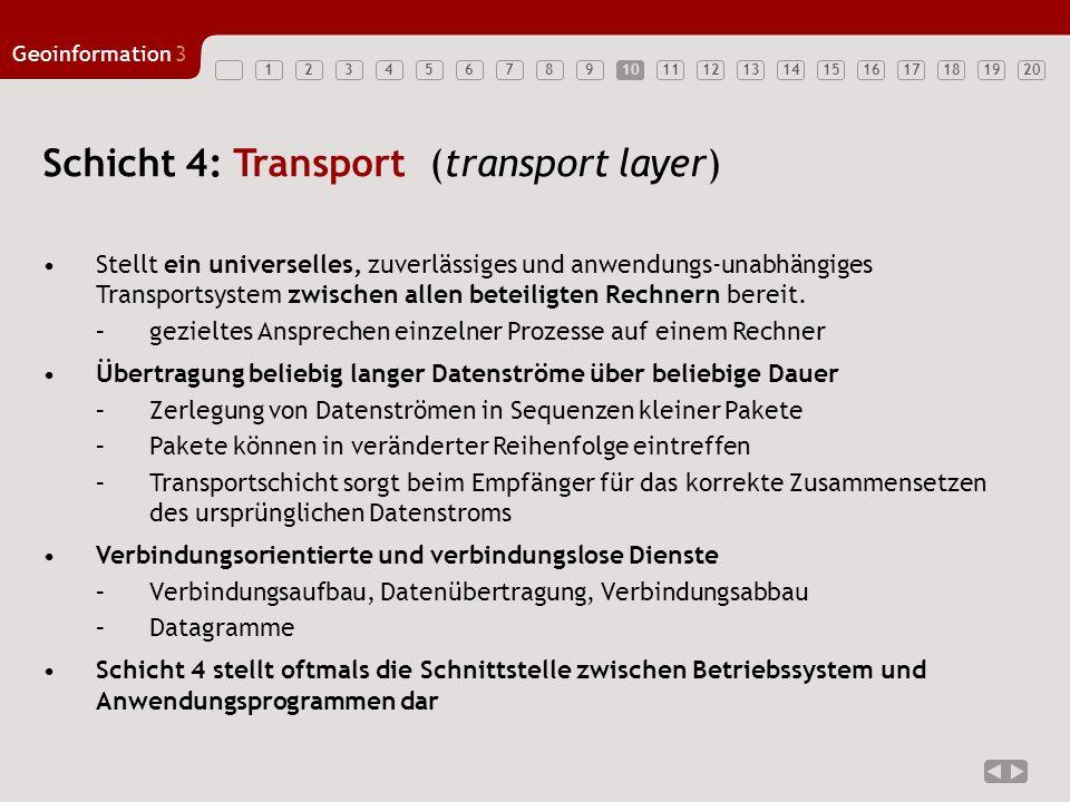 1234567891011121314151617181920 Geoinformation3 10 Schicht 4: Transport (transport layer) Stellt ein universelles, zuverlässiges und anwendungs-unabhä