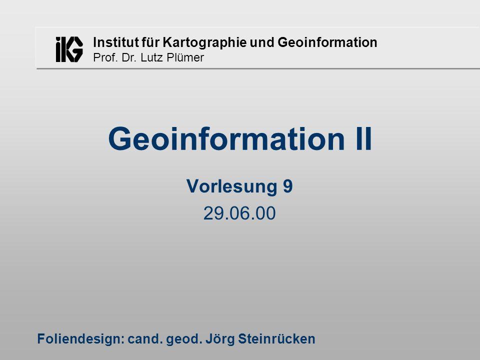 Lutz Plümer - Geoinformation II - SS 2000 - Vorlesung 9 - 29.06.0031 E H Suchen eines Knotens A B DG J F C I 34 12 AIEH 5 BCD 6 JFG 6 4 2 1 3 5