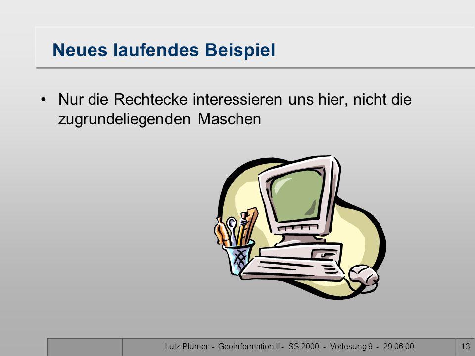 Lutz Plümer - Geoinformation II - SS 2000 - Vorlesung 9 - 29.06.0012 Idee In welcher Masche M liegt der Punkt P? Nutze die Bounding Boxes als Filter V