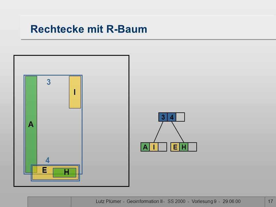 Lutz Plümer - Geoinformation II - SS 2000 - Vorlesung 9 - 29.06.0016 Rechtecke mit R-Baum A I 3 AI 3