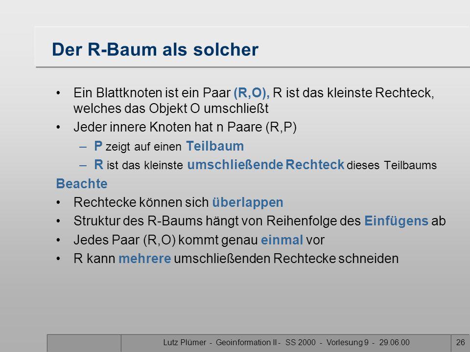 Lutz Plümer - Geoinformation II - SS 2000 - Vorlesung 9 - 29.06.0025 R-Baum als B-Baum Ein R-Baum ist ein B-Baum mit zusätzlichen Eigenschaften B-Baum