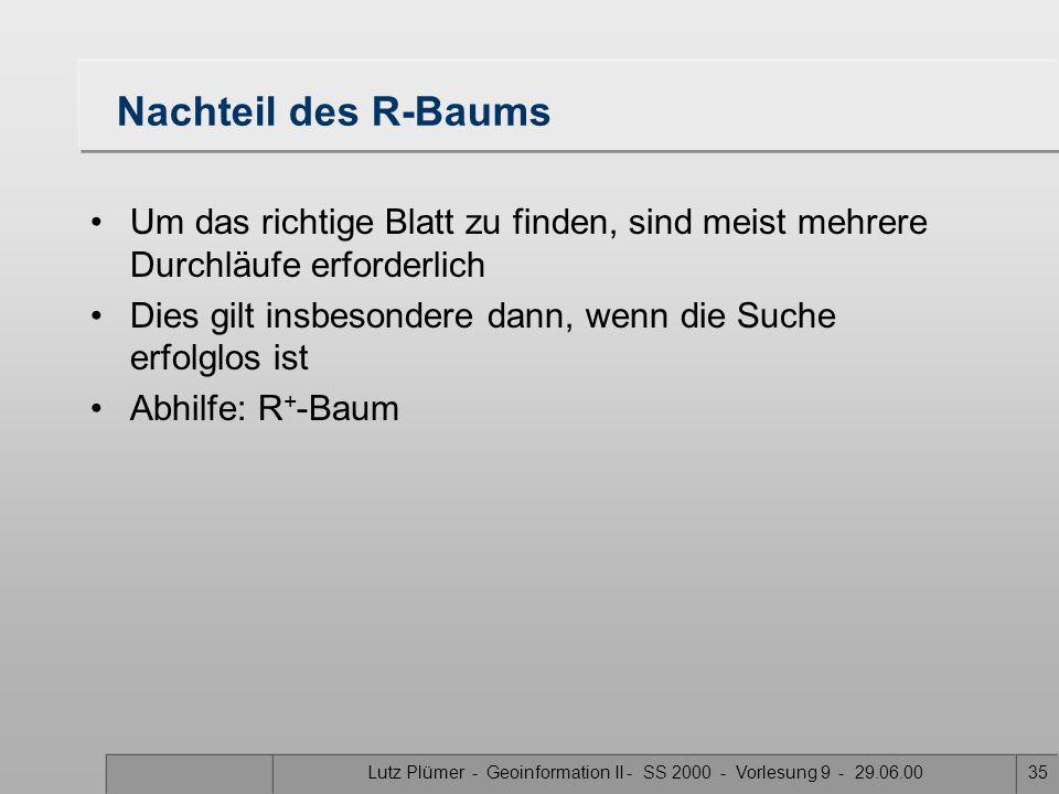 Lutz Plümer - Geoinformation II - SS 2000 - Vorlesung 9 - 29.06.0034 E H Suchen eines Knotens A B DG J F C I 34 12 AIEH 5 BCD 6 JFG 6 4 2 1 3 5