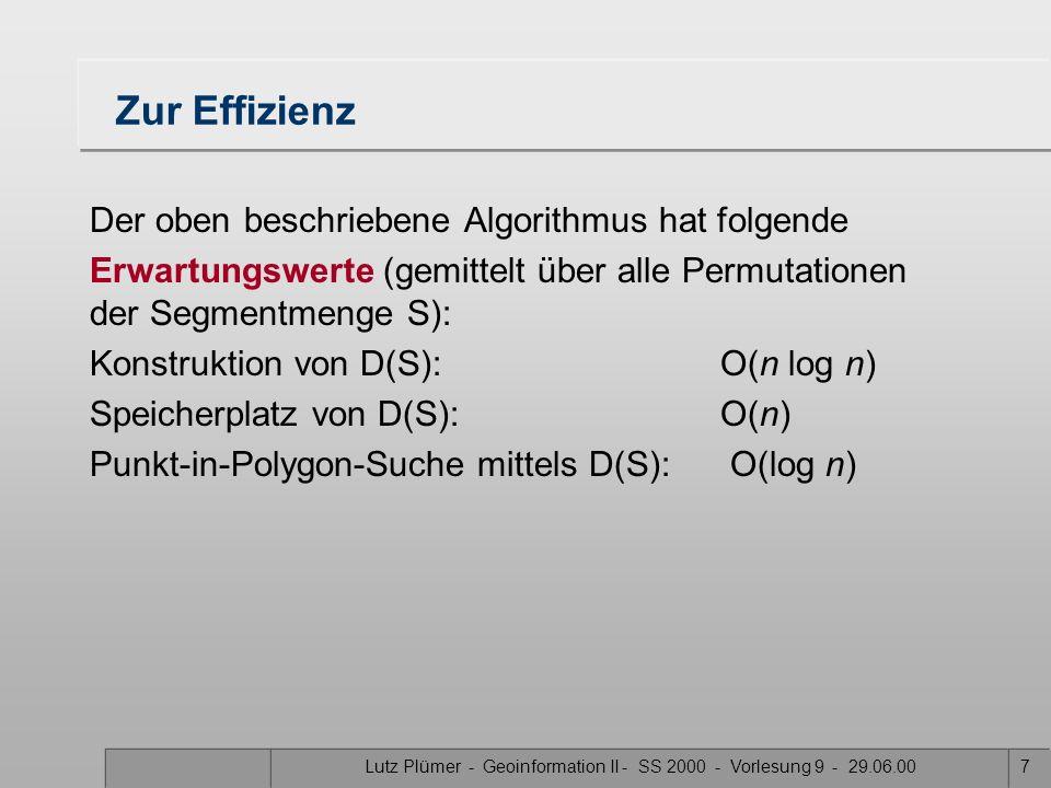 Lutz Plümer - Geoinformation II - SS 2000 - Vorlesung 9 - 29.06.007 Zur Effizienz Der oben beschriebene Algorithmus hat folgende Erwartungswerte (gemittelt über alle Permutationen der Segmentmenge S): Konstruktion von D(S):O(n log n) Speicherplatz von D(S):O(n) Punkt-in-Polygon-Suche mittels D(S): O(log n)