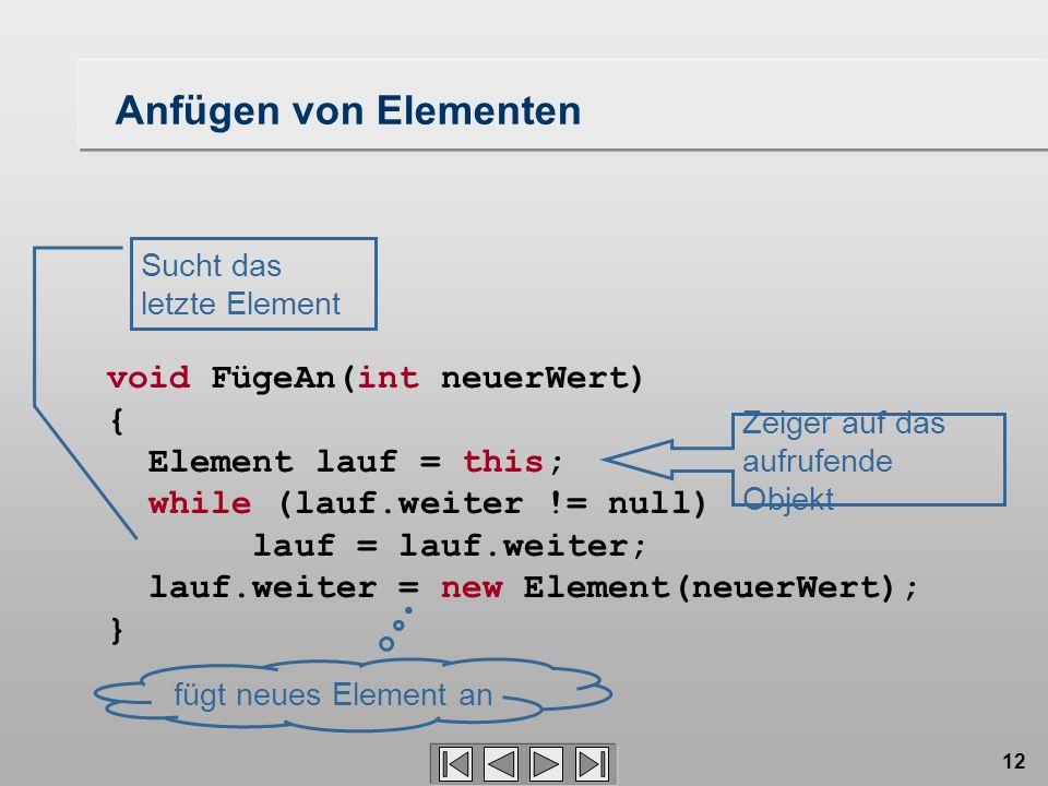 12 void FügeAn(int neuerWert) { Element lauf = this; while (lauf.weiter != null) lauf = lauf.weiter; lauf.weiter = new Element(neuerWert); } Zeiger auf das aufrufende Objekt Sucht das letzte Element fügt neues Element an Anfügen von Elementen