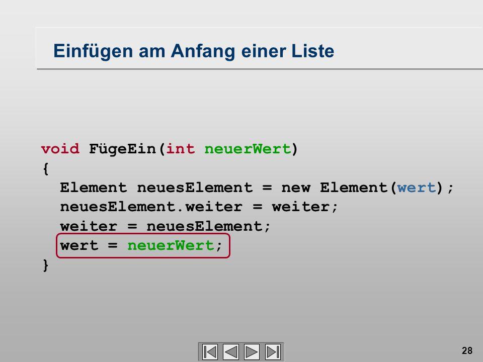 28 void FügeEin(int neuerWert) { Element neuesElement = new Element(wert); neuesElement.weiter = weiter; weiter = neuesElement; wert = neuerWert; } Einfügen am Anfang einer Liste